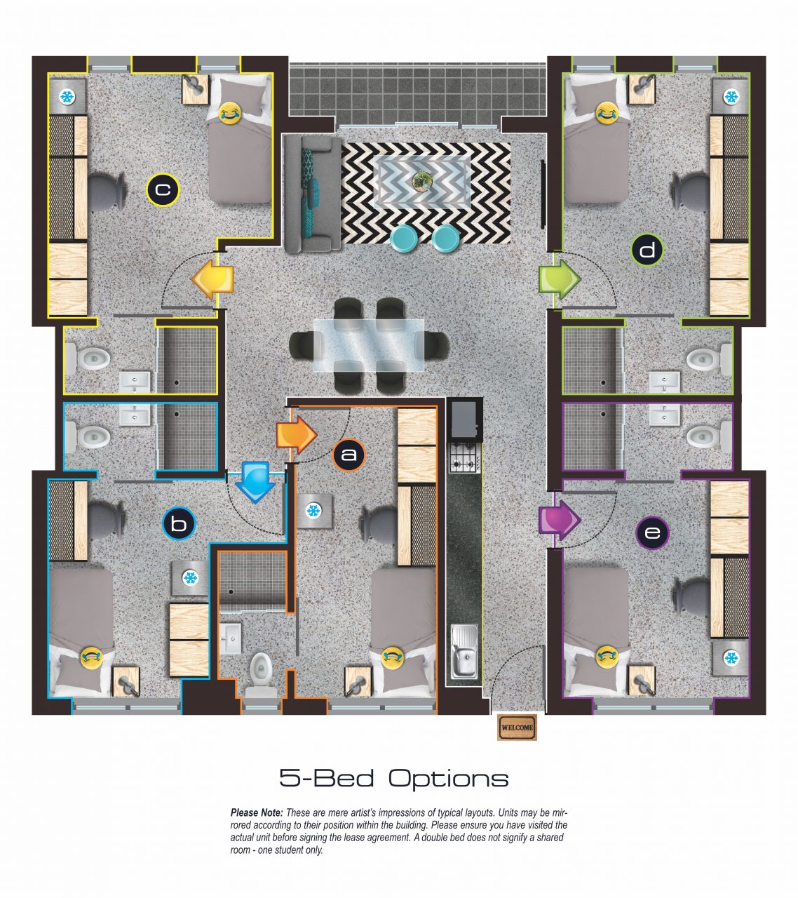 5 Bedroom Apartment: The Campus Student Accommodation